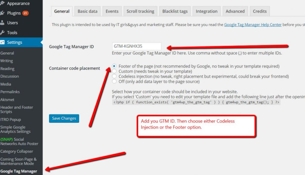 adding google tag manager id