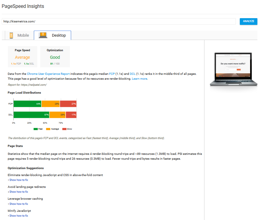 using page insights to help optimise your site