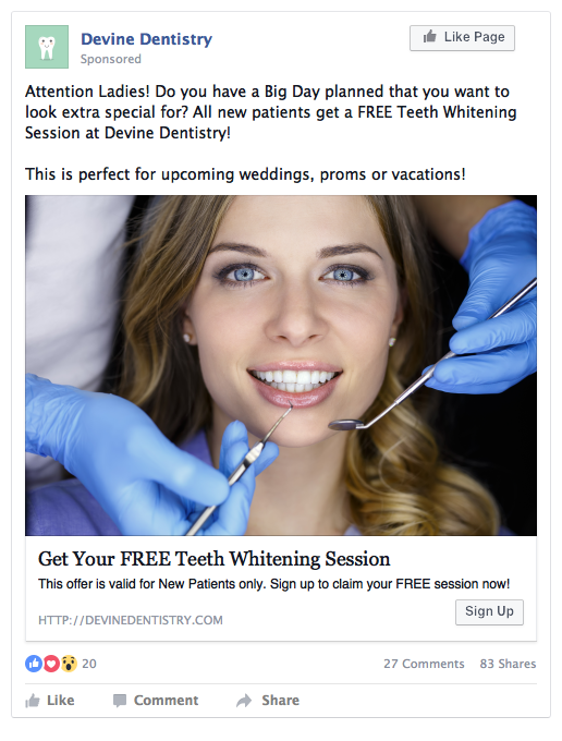 dentist facebook post