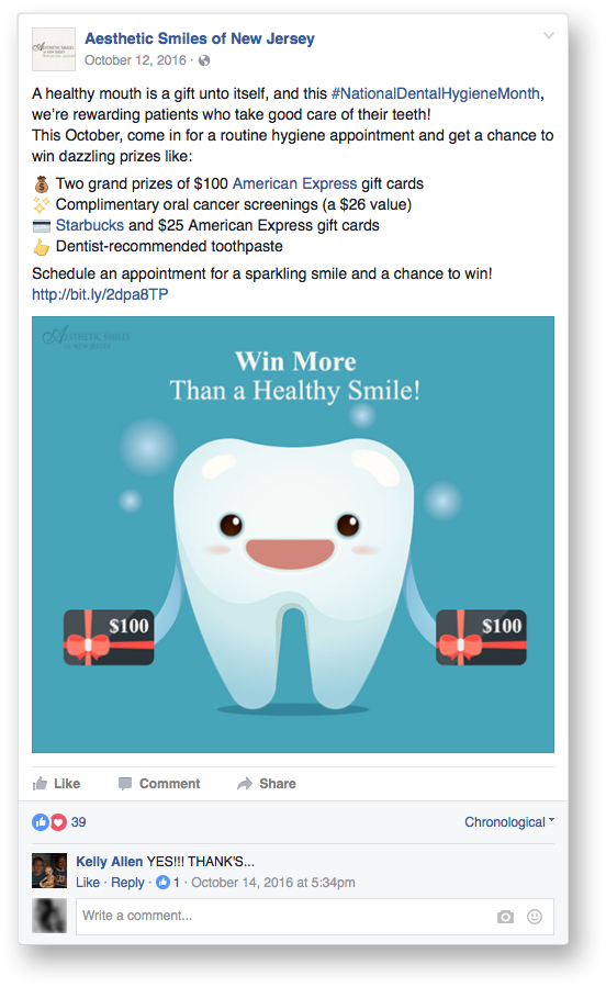 dental afcebook ad