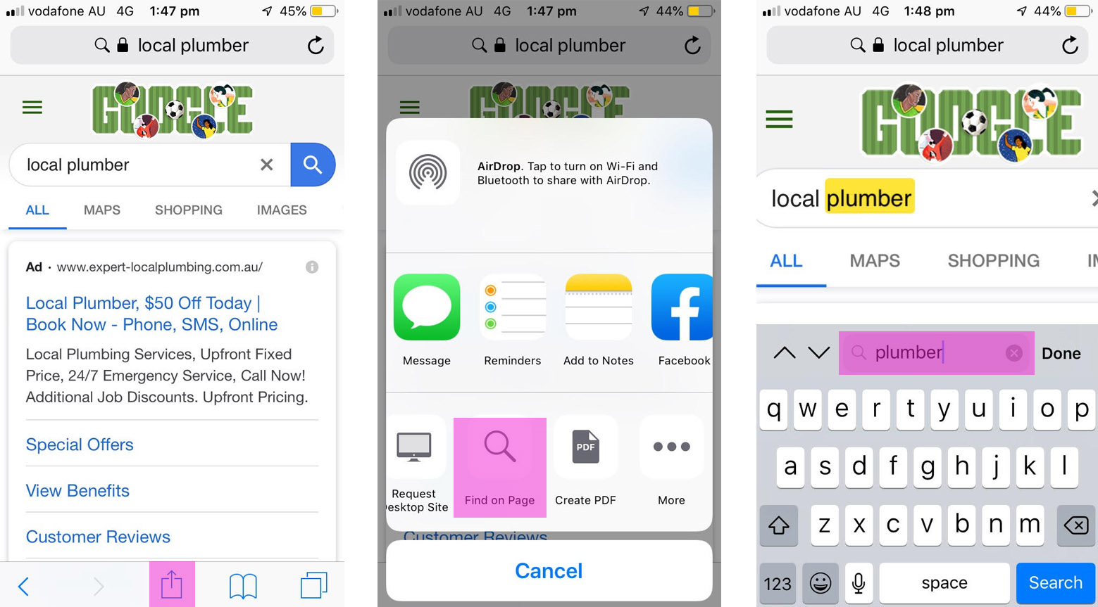 find text on ios safari browser